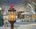 Cardinals In Winter-1000 piece jigsaw puzzle WMP1233